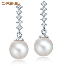 CARSINEL Fashion Hypoallergenic Needle Stud Earrings Zirconia with Pure Pearl Silver color Earrings for Women Wedding