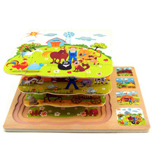 Hot Slae classic early education toys 3 layers wooden puzzles multilayer three-dimensional puzzle farm children's toys