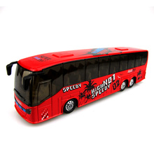 2017 Hot Sale Rushed Cars Pixar Chuggington Alloy Back Toy Car Sound Light Tour Bus Passenger Children's Early Education Model(China)