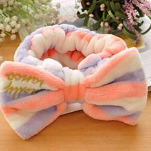 1 Pcs Soft Coral velvet Elastic Headwrap sweet Big Bow Headband Spa Make Up Hairband stripe hit colors washing hair use snood(China)