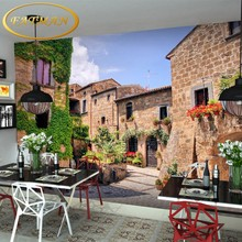 custom photo wallpaper European town style mural alley wallpaper leisure village tea shop mural TV background wallpaper