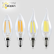 Buy TSLEEN 10PCS Retro Led Light E14 AC 220V Filament bulb Edison lamp Clear LED bulb LED Ampoule LED light bulbs E14 4w 8w Sale for $17.01 in AliExpress store