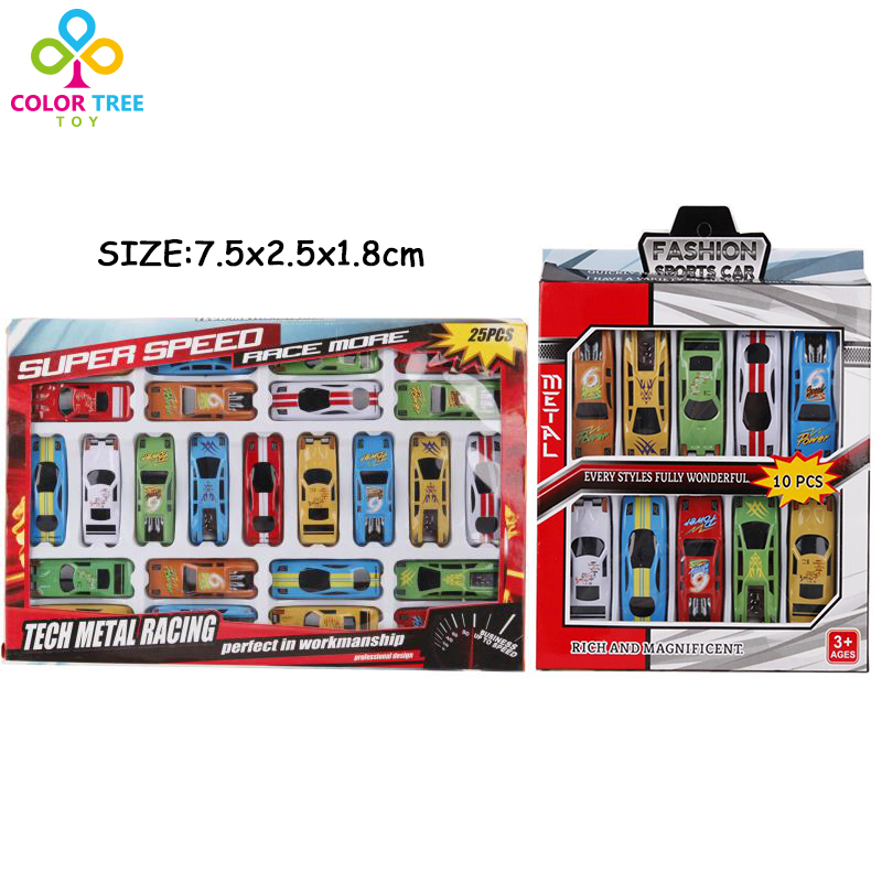 10pcs/25pcs Plastic Mini Racing Car Set Multicolor Model Toy Vehicles Educational Toys Gifts Children