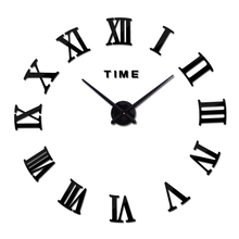 2017 new real home decorations quartz modern wall clock clocks watch horloge 3d diy acrylic mirror stickers wood(China)