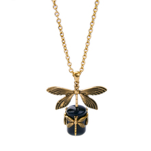 Gold Color Women Daily Long Chain Necklace Pendant Blue Insect Dragonfly Necklace Vintage Jewelry Factory Direct Sale