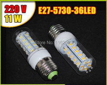E27 led lamps light 220V Corn Bulbs 5730 36Leds 5730SMD max 11W Candle crystal chandelier lighting Energy Efficient 2Pcs/LoT(China)