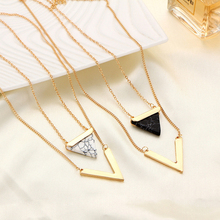 2017 New Multilayer Triangle Turquoises Necklace For Women Gold Color Chain Chocker Necklace for Lady