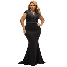 2017 black long summer women dress xxxl plus big size rhinestone scalloped neck club sexy womens maxi dresses vestidos Q61376(China)