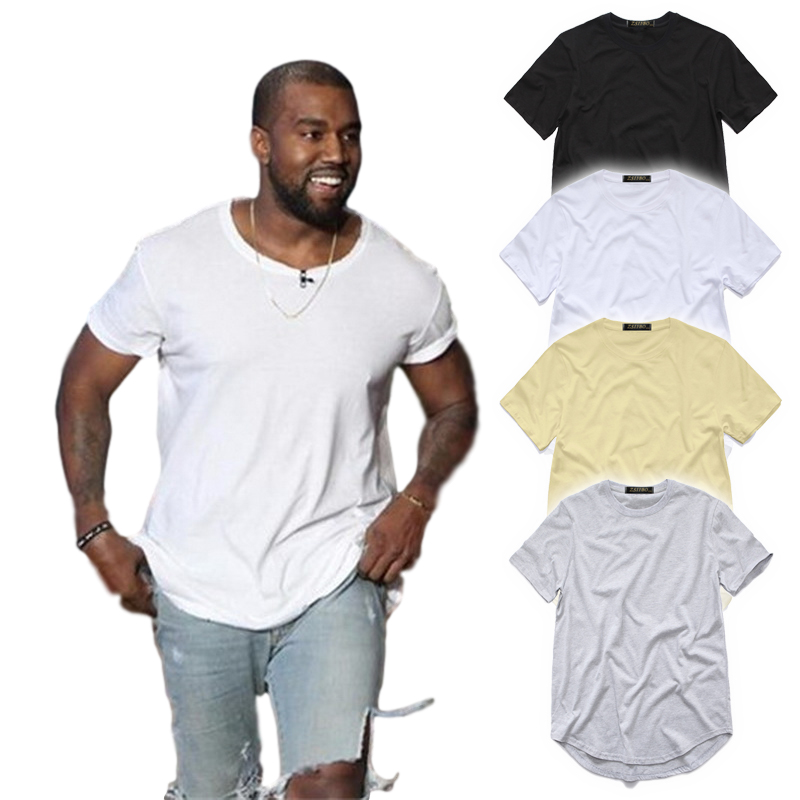 men's T Shirt Kanye West Extended T-Shirt Men clothing Curved Hem Long line Tops Hip Hop Urban Blank Justin Bieber TX135-R(China)