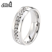 Effie QueenStainless Steel Ring for Men Women Silver/Gold Color Couples Finger Ring Luxury Clear Shine Rhinestone Jewelry WTR27