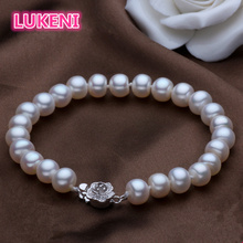High quality Brand name Genuine 100% Natural Pearl Bracelet Fashion Sterling silver bracelets For women Free shipping(China)