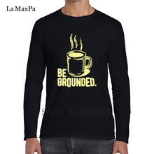 Printed Logo Be Grounded Coffee Humor Funny Shirts Funny Men's Tee Shirts winter T-Shirt For Men Clothes long sleeve Tshirt Men(China)