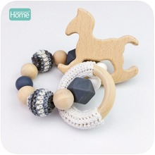 MamimamiHome Baby Rattle Beech Horse Wood Teething Crochet Beads Bracelets Montessori Toys For Children Baby Crochet Toys(China)