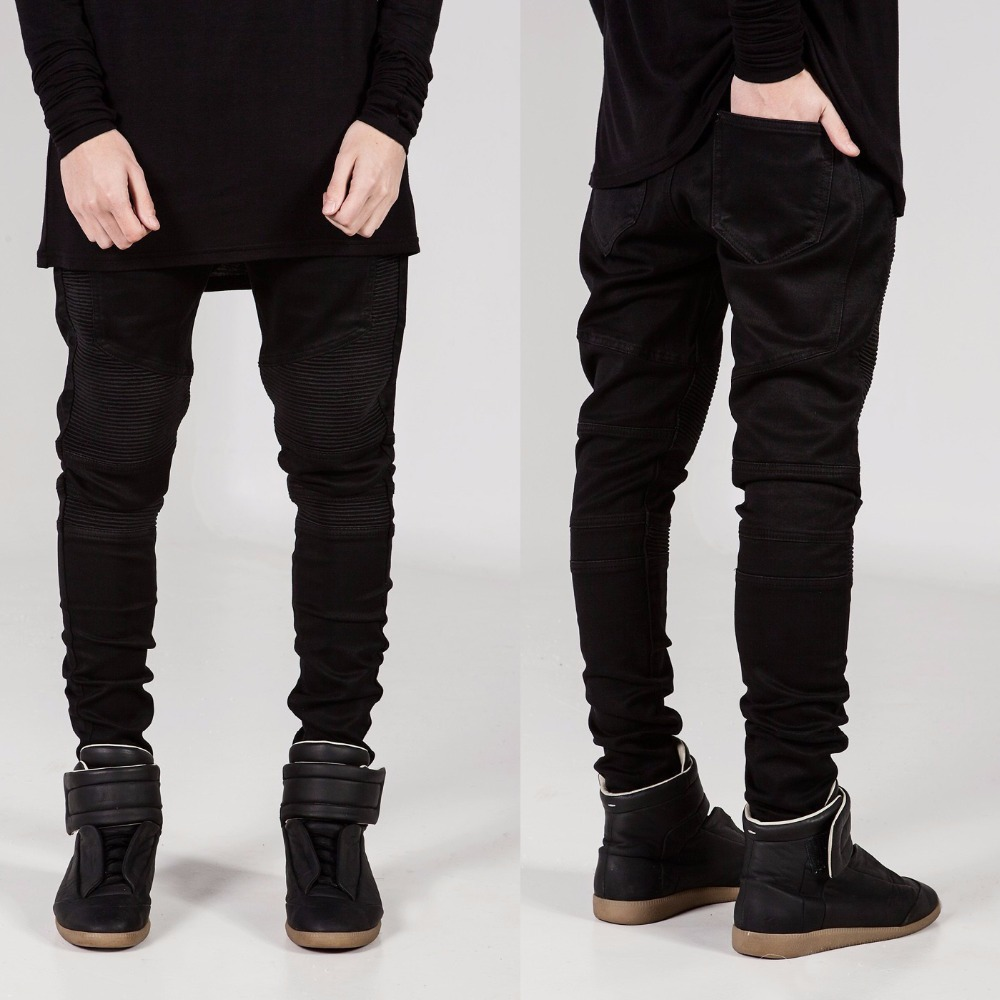 Mens Skinny Jeans Men 2017 Runway Distressed Slim Elastic Jeans Denim Biker Jeans Hiphop Pants Washed Black Brand JeansОдежда и ак�е��уары<br><br><br>Aliexpress