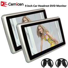 Cemicen 2PCS 9 Inch Car Headrest Monitor DVD Player Support HD 1080P Video USB/SD Built-in IR/FM Transmitter Speaker(China)