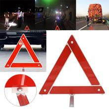 Vehemo Auto Car Red Breakdown Warning Triangle Emergency Reflective Safety Hazard Sign Cars Tripod Folded Stop Sign Reflector(China)