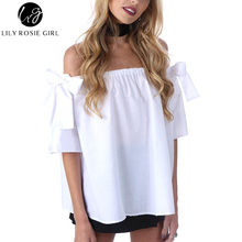 Off Shoulder Elegant Bow White Women Blouse Casual Sexy Tops Short Sleeve Summer Style 2016 Beach Shirts Blusas Feminina