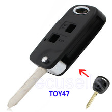 Replacement Housing Shell Folding Flip Remote Key Case Fob 2 Button For Toyota Yaris Carina Corolla Avensis  SWITCH TOY47 BLADE