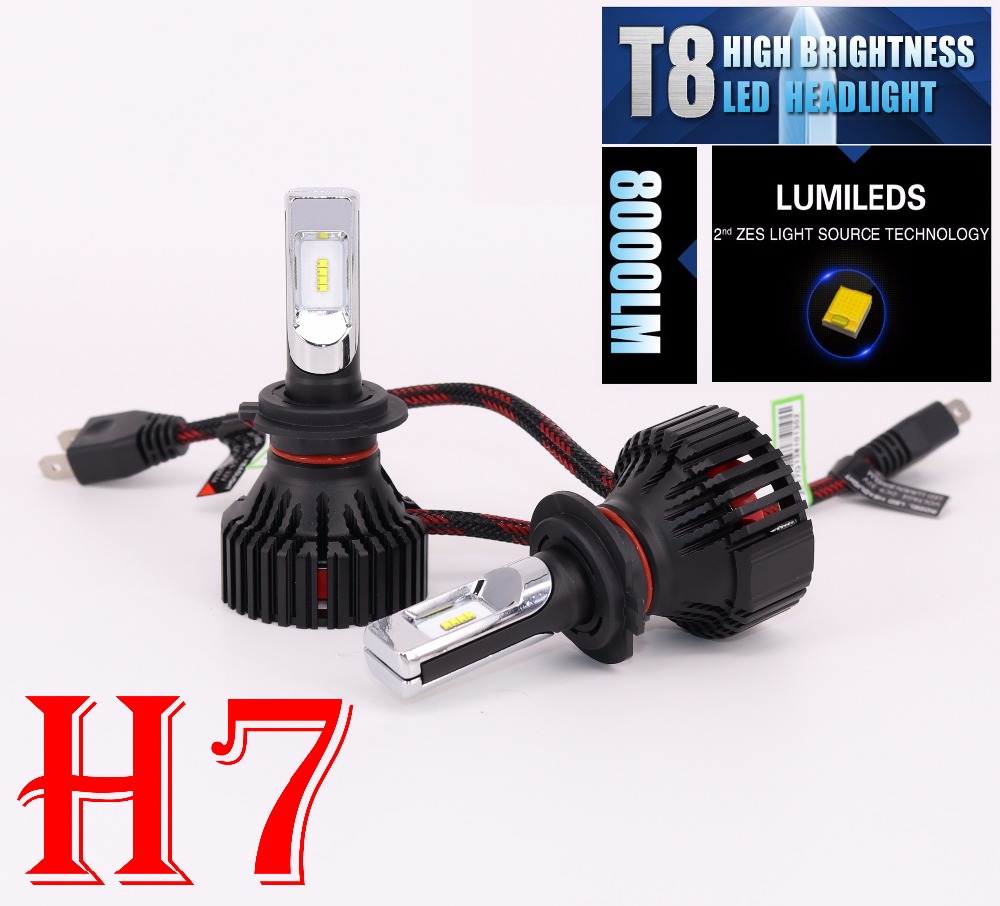 1 Set H7 60W 8000LM T8 LED Headlight LUMILED 2nd ZES Chips 16SMD Pure White 6500K All-in-one Automobile Driving Fog Lamps Bulbs<br>