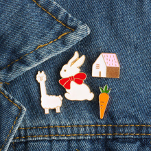 Cartoon Creative Mini Carrot Rabbit House Sheep Enamel Pin Brooch Animal Metal Brooches Pins Button Denim Badge Fashion Jewelry(China)