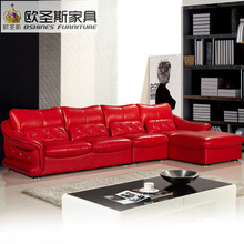 Latest design new wedding Modern sectional corner l shape sexy hot red leather sofa set, red genuine leather sofa italian F39