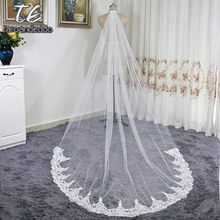 Cathedral Length Applique Lace Real Lace Wedding Veils with Comb One Layer Lace White/Ivory Bridal Accessories Veil(China)