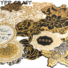 YPP CRAFT 25pcs Gold Black Flower Cardstock Die Cuts for Scrapbooking Happy Planner/Card Making/Journaling Project DIY 019