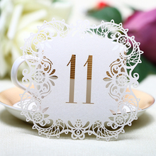 20pcs/set from 1 to 20 Ivory Hollow Lace Table Number Table Cards Rustic Wedding Centerpieces Decor Vintage Wedding Decoration