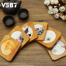Square Wooden Coaster Bamboo Coaster Table Bottle Vase Mug Cup Mat Drinkware Holder Tableware Household Dining Table Decoration
