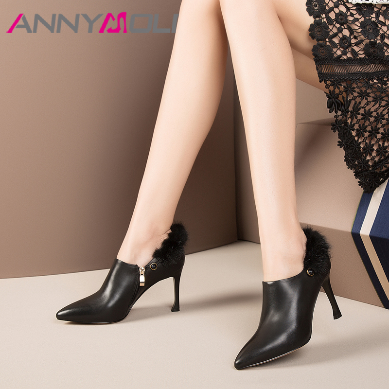 ANNYMOLI Natural Leather Shoes High Heels Real Fur Pointed Toe Ladies Dress Shoes Elegant Spring Luxury Stiletto Shoes Black