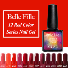 Belle Fille 10ml Ruby Red French Vermilion Blood Nail Gel Polish Gel Vernis Ongles Soak Off UV Coat for Nails Art Set Decoration