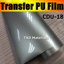 CDU-18 SILVER heat transfer pu film with top quality for clothes transfer with size:0.5x25m/roll by free shipping