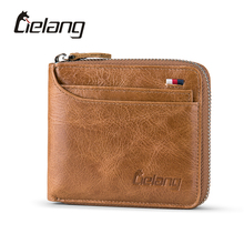 LIELANG Genuine Leather Mens Wallets Brand Logo Zipper Design Short Men Purse Vintage Casual Mini Male Purses Card Holder Walet(China)