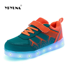 Size 25-37//  USB charging children basket led shoes kids with lights up glowing lighted shoes for girls&boys luminous sneakers