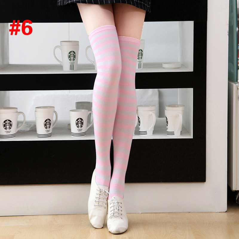 Polyester Fashion Stripe Beauty Tights, Stockings, Multicolor Knee-high Women Sweet Cute Girls Stockings 13