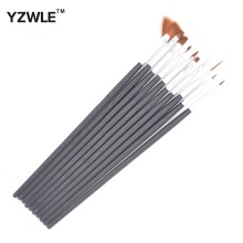YZWLE 10 Pcs/Pack Black Professional Nail Brushes Nail Art Painting Brush Gel Nail Brush UV Gel Design Pen Painting Brush 37