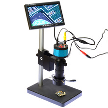 "2.0MP HD 2in1 Industry Digital Microscope Camera + 7"" LCD Monitor + Stand Holder + C-Mount Lens + 40 LED Ring Right"