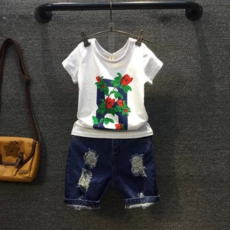 Girls Summer Casual Clothes Set Children Short Sleeve Print T-shirt + Jeans Pants Fashion Suits 2016 Girl Clothing Sets for Kids<br><br>Aliexpress