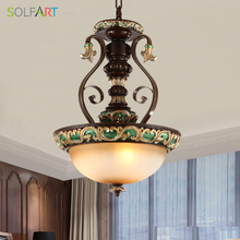 SOLFART Lamp Pendant Lights European Classical Style Carved Resin Metal With Frosted Single Glass Led Pendant Lights 9001-3P(China)
