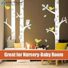 3 Big Birch Tree Large Wall Decal Wall Sticker Owl Birds- Project Nursery Featured- Baby Nursery Vinyls for home mural wallpaper