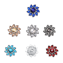 6pcs/lot Crystal Flower Snap Buttons fit 18mm/20mm DIY Snap Bracelet Replaceable Snap Jewelry Accessories