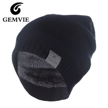 Winter Hat Knitted Mens Winter Cap 2016 Women Casual Solid Thick Warm Plus Velvet Beanie Cap skullies beanies(China)