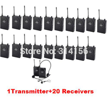 Takstar UHF-938/UHF 938 UHF frequency Wireless Tour Guide System 50m Operating Range 1 Transmitter+20 Receivers for Tour guiding(China)