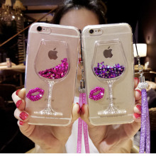 3D Liquid Quicksand Bling Rhinestone Wine Glass Pattern Phone Case For iPhone 7Plus for iPhone 5 6s for iPhone 8 Plus Hang Rope(China)