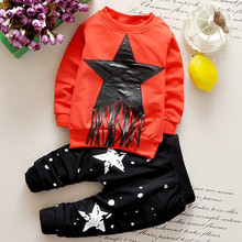 New arrival baby boy winter clothing set solid printing star dot boy's great quality cotton cheap brand kids tassle clothes sets