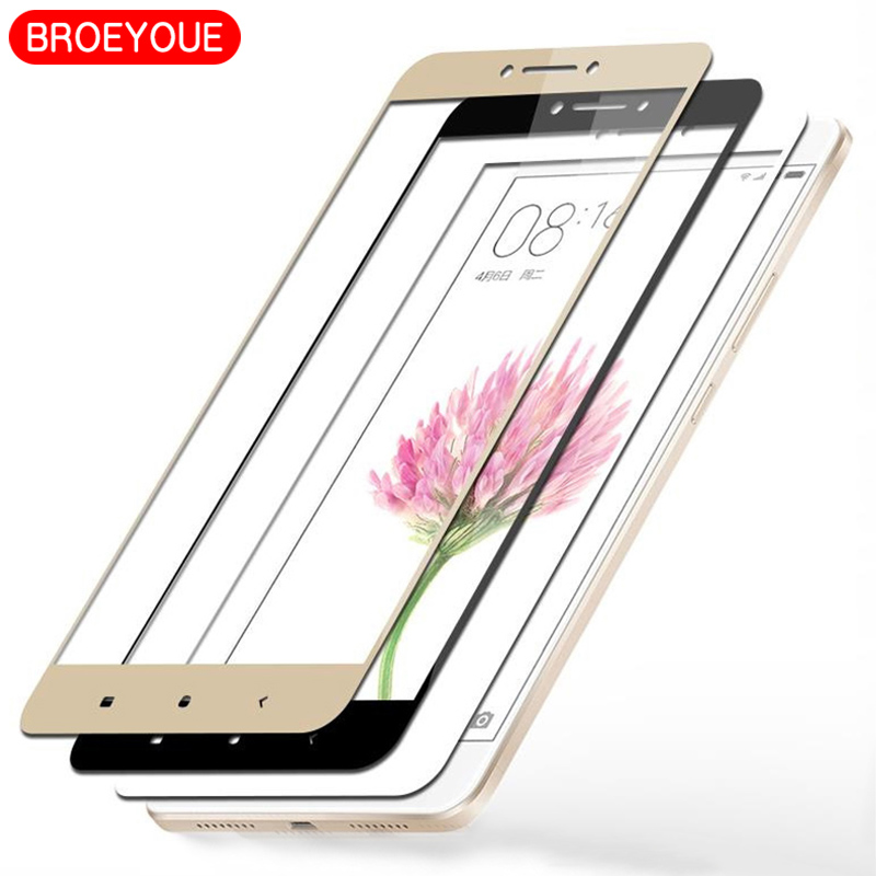 BROEYOUE Tempered Glass Xiaomi Redmi Note 4 4X 5A 3 Pro 0.26MM 9H Full Cover Screen Protector Xiaomi Mi 5 5S 5C 6 Film