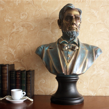 European style retro antique copper large Lincoln sculpture figures Home Furnishing ornaments jewelry crafts study room(China)