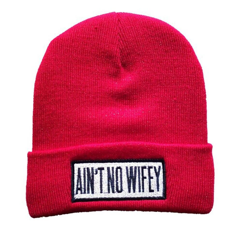 New Letter Hats for Women AINT NO WIFEY Knitted Caps For Men Wool Beanies Hat Thick High Quality Winter Gorros / BonnetsÎäåæäà è àêñåññóàðû<br><br>