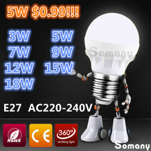 Led Lamp E27 3W 5W 7W 9W 12W 15W 18W Led Light Bulbs 220V 230V 240V SMD 5730 E27 Spotlight Wholesale Warm / Cool White Led Bulb