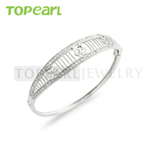 9BM18 Topearl Jewelry 2pcs/LOT 925 Sterling Silver Zircon Bracelet Base with 3 Blanks for Bridal Pearl Jewelry Making